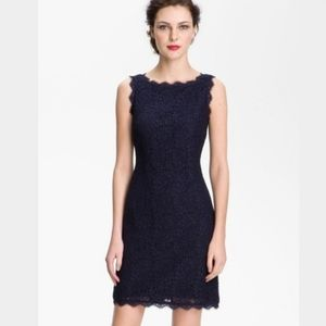 Adriana Papell • navy lace zip-back formal dress